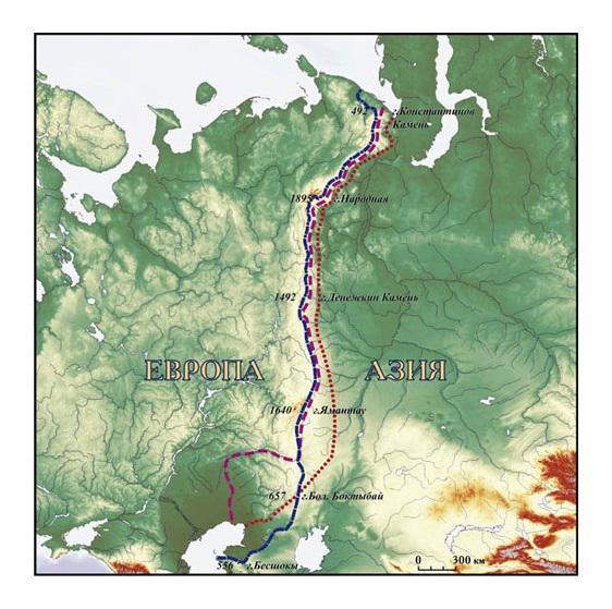 Европа Азия Урал граница, карта