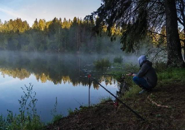 Рузское водохранилище, рыбак