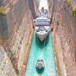 Коринфский канал, большой лайнер