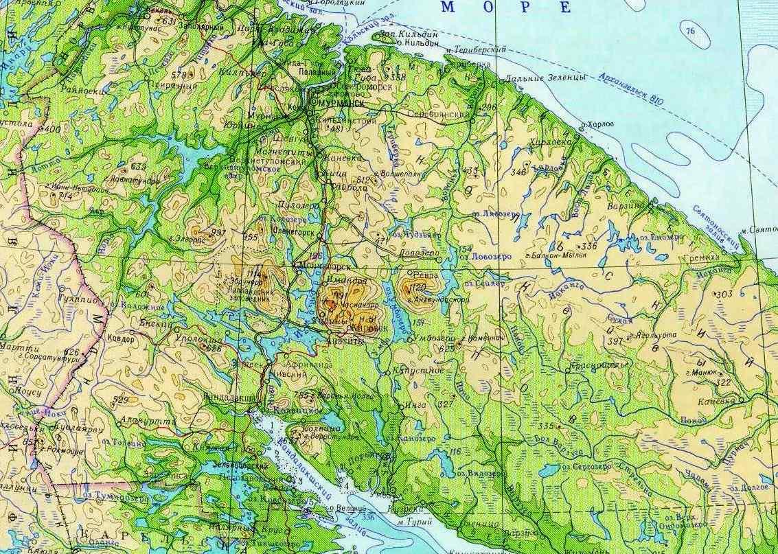 водоемы на карте Мурманской области