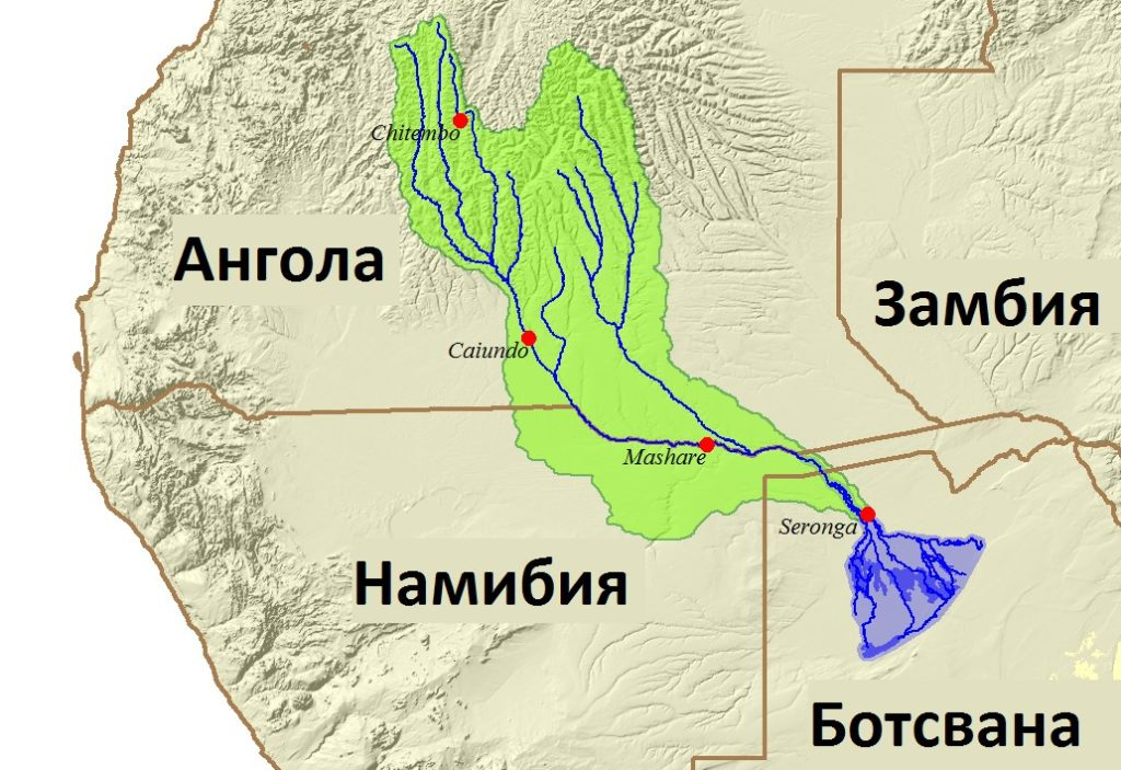 Карта течение Окованго на материке